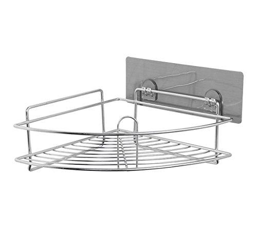 (Edelstahl-Duschcaddy/Duschregal mit 2pcs selbstklebenden Haken, Badezimmer-Transportgestell für Duschablage, Duschehalter für täglichen Versorgungs-Badezimmer-Eckduschgestell)
