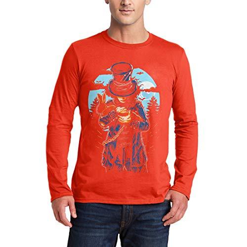 garm T-Shirt Mad Hatter Horror Night Moon Dark Rabbit Hat Death Evil Skull Bats Hell Saw Killer Vintage Classic(Small,Orange) ()