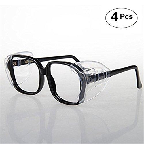 CAREOR Brillenflügel, Anti-Rutsch auf klare Seitenschilde für Schutzbrille, Schutzbrille Flexible Seitenschilde- passend für kleine / mittlere / große Brillen (Doppel-Loch-4 PC-M)