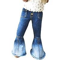 Jeans für Baby Kinder - Mode Schlaghose Jeans Weich Elastische Taille Casual Lange Hose Jeanshose mit Taschen für Mädchen
