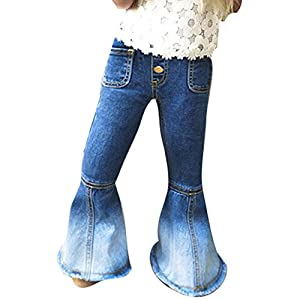 Yying Jeans für Baby Kinder – Mode Schlaghose Jeans Weich Elastische Taille Casual Lange Hose Jeanshose mit Taschen für Mädchen