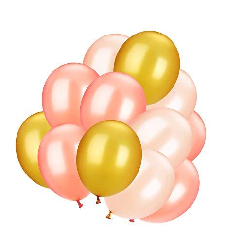 100Stück Latex Luftballons für Party Dekoration Supplies, 3Farben, Rose Gold, Champagner Gold und Gold