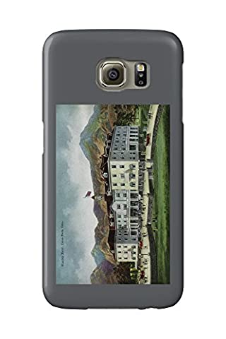 Rocky Mountain National Park - Exterior View of the Stanley Hotel, Estes Park - Vintage Halftone (Galaxy S6 Cell Phone Case, Slim Barely There)