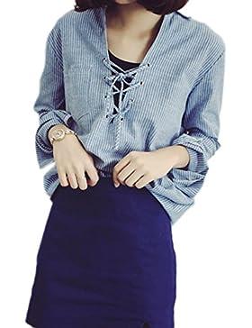 Blusas de encaje rayas Casual de las mujeres Blue XS