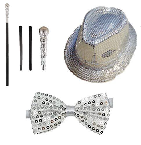ult Dance Kost�m Set Pimp Stick Pailletten Zylinder Fliege Unisex Showbiz Outfit Silber Einheitsgr�sse ()