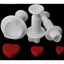 nicebuty 3pcs amor forma de corazón Cookie cortador de émbolo fondant pasta de goma, elementos