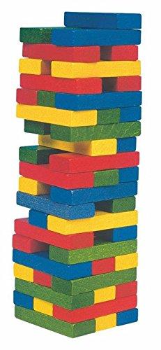 Legespiel torre juego juguete TORRE BLOQUES DE MADERA MANCHADA Wackel madera Kinderland