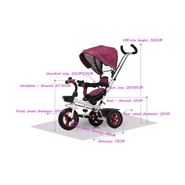 4 In 1 Kids' Trikes 6 Months To 5 Years 360° Swivelling Saddle 2-Point Safety Belt Kids Tricycle Blockable Rear Wheels Heigh Adjustable Handlebar Child Trike Maximum Weight 25 Kg,Brown BGHKFF ★Material: Steel frame, suitable for children from 6 months to 5 years old, the maximum weight is 25 kg ★ 4 in 1 multi-function: can be converted into baby strollers and tricycles. Remove the hand putter and awning, and the guardrail as a tricycle. ★Safety design: Golden triangle structure, safe and stable; front wheel clutch, will not hit the baby's foot; 2 point seat belt + guardrail; rear wheel double brake 4