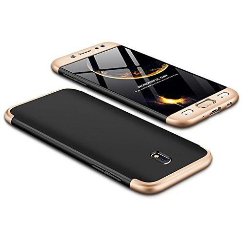 Funda Galaxy J3 2017/J330,Carcasa Samsung J3 Pro 2017,Funda 360 Grados Integral Para Ambas Caras+Cristal Templado,[360°]3 in 1Slim Fit Dactilares Protectora Skin Caso Carcasa cover Oro+Negro