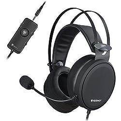 NUBWO Casque Gamer PS4, N7 7.1 Surround Sound PC Casque Gaming Xbox One Stéréo Filaire PC avec Micro à réduction du Bruit, Casque Over Ear avec Contrôle du Game&Mic pour PC, Mac, PS4, Xbox 1