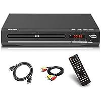Reproductor de DVD para TV, DVD / CD / MP3 / MP4 con conector USB, salida HDMI y AV (cable HDMI y AV incluido), mando a distancia (no Blu-ray) color negro, para todas las regiones