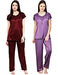 Phalin Women's Satin Night Suits Set (Multicolour, Free Size) - Pack of 2