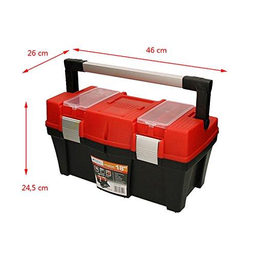 """Werkzeugkoffer Aptop 18"""" 46x26x24,5cm Werkzeugkasten Sortimentskasten Werkzeugkiste Angelkoffer Kunststoff - 2"""