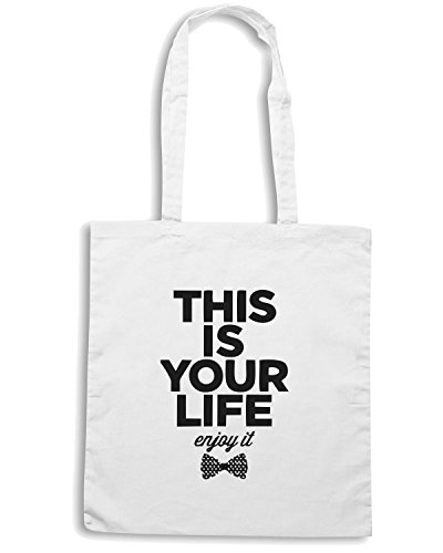 T-Shirtshock - Borsa Shopping CIT0230 this is your life enjoy it Bianco
