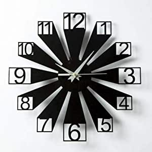 Gulabi Art Wooden Black Wall Clock 3D View Office and Home (12 in X 12 in) (GA-MWC130)