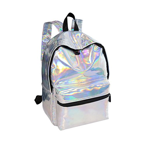 tinksky Girl Sliver Holographic Laser similpelle Scuola zaino Travel Casual Daypack