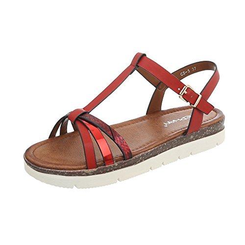 Ital-design Sandali Con Il Cinturino Scarpe Da Donna Con Cinturino Sandali Con Cinturini E Fibbia Rosso Cs-5