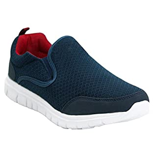 Airtech Mens Twin Gusset Slip On Go Walk Casual Breathable Mesh Fitness Gym Sports Running Trainers Shoes UK Sizes 7-12 (UK 11, Navy)