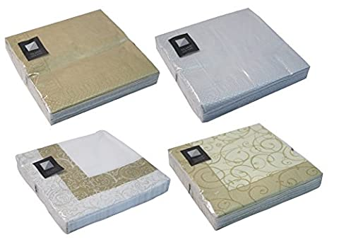 100 x LUXURY SOFT 3 PLY GOLD & SILVER PAPER NAPKIN SERVIETTE AVAILABLE - 33cm x 33cm - Choose from 4 designs ,100s or 200's - FREE DELIVERY (Gold Leaf, 100)