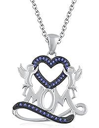 """Silvernshine 1.35 Ct Tanzanite Mom Heart Pendant 18"""" Chain Necklace In 14K White Gold Fn"""