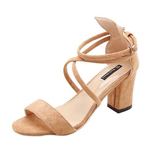 ABsoar Sandalen Damen, High Heels Schuhe Sexy Sommer Riemchensandalen Pumps Mit Blockabsatz Sandaletten Offene Zehen Sandalette Strand Sandals für Party Hochzeit Empfang (Khaki,36) -
