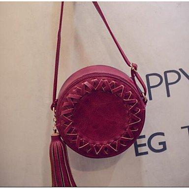 SUNNY KEY-Borsa a tracolla @ Donna Borsa a tracolla PU (Poliuretano) Per tutte le stagioni Casual Cilindrico Cerniera Nero Rosso Grigio , red gray