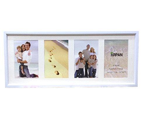 ARPAN Bilderrahmen mit Passepartout, MDF, für 4 Fotos, Weiß