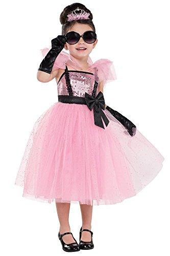 (shoperama Glam Princess Mädchen Kostüm Prinzessin Audrey Kleid Rosa Glitzer Star Lady Kinder-Kostüm Petticoat Kleinkind Karneval, Größe:104 - 3 bis 4 Jahre)