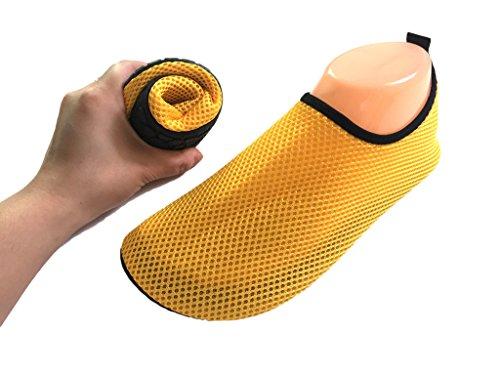 HYSENM Scarpa acquatico 360° Flessibile in maglia Ultra traspirante asciugatura rapida suola antiscivolo per sport spiaggia piscina Surf condotta Yoga giallo