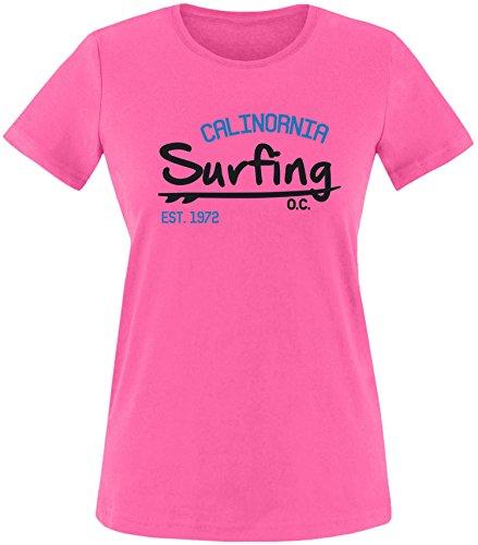 EZYshirt Surfing California Damen Rundhals T-Shirt Fuchsia/Schwarz/Blau