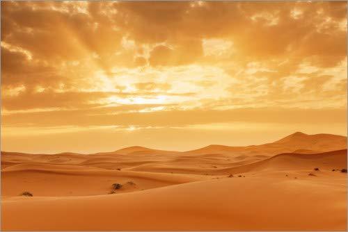 Posterlounge Leinwandbild 180 x 120 cm: Sonnenuntergang in der Sahara, Marokko von Markus Lange - fertiges Wandbild, Bild auf Keilrahmen, Fertigbild auf echter Leinwand, Leinwanddruck - Sonnenaufgang In Der Wüste Fertig