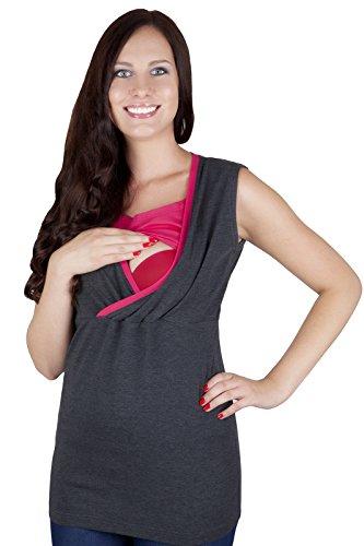 Mija - 2 en 1 Chemise maternité et de soins tricot de corps 95% coton 9057 Graphit