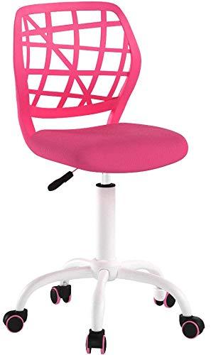 Bürostuhl Fanilife Drehstuhl Schreibtischstuhl Bürostuhl Kinder Arbeitsstuhl höhenverstellbar, gepolsterte Sitzflaeche aus Netz, Rosa