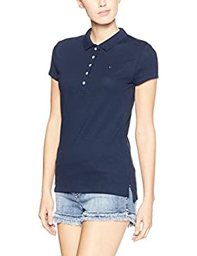 Tommy Hilfiger - New Chiara Str Pq Polo Ss, Polo da donna,  manica corta, collo a polo
