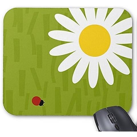 Graphic con coccinella su margherita, colore: verde, Tappetino per mouse grande, per ufficio, con confezione