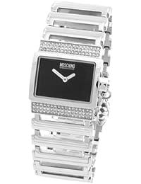 Moschino MW0074 - Reloj analógico de cuarzo para mujer con correa de metal, color plateado