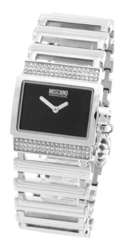 Moschino - MW0074 - Montre Femme - Quartz Analogique - Cadran Noir - Bracelet Métal Argent