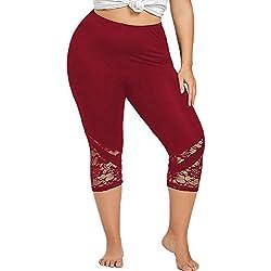 SHOBDW Liquidación Moda Mujeres Encaje Sexy Plus Size Pantalones Flacos Confortables Yoga Pantalones Deportivos Polainas Pantalones (5XL, Vino Rojo)