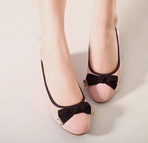 Baymate Comode Ballerine Casuale Piatto Scarpe Bowknot Decorazione Mocassini per Donna Pink