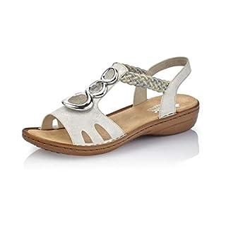 Rieker Women's 608t8-81 Closed Toe Sandals White (Weiss Beige-Silber/Fango Altsilber/Silve 81) 5 UK