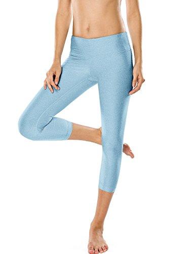 CRZ YOGA Damen Sport Yoga Leggings - Capri Tights Training Hose Sportpants Grün Melange 44 (XL) Training Capri-hosen