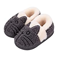 KVbaby Girls Slippers Winter Kids House Slippers Boys Plush Warm Indoor Shoes Soft Slip On Bedroom Slippers Comfort Mule Outdoor 2-Grey 6-7 UK Child (Label Size:16-17)