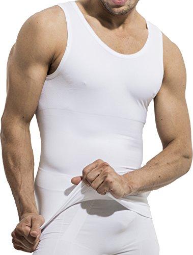 UnsichtBra Herren Shapewear Unterhemd | Body Shape Bauch Weg Shirt | Figurformende Wäsche | Tank Top weiß o. schwarz (sw_7100) (XL, Weiss)