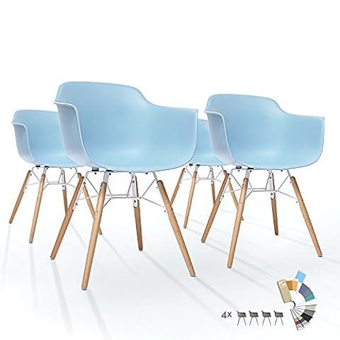 Lot de 4 Chaises LTD83 Chaise Salle à Manger en Plastique Glace Bleue Confortable Polypropylen Pied Massif Bois Scandinave Salon Bistrot Industrielle Vintage
