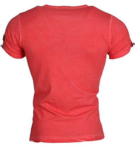 Tazzio Herren T-Shirt Poloshirt Polo Hemd Slim Fit Japan Style Kurzarm Crimson Avelar