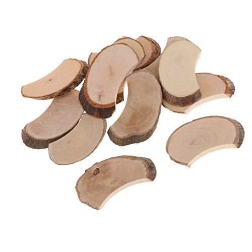 chiwanji 20 Stücke Naturholz Stücke Holz Platten Holzscheiben Anhänger Dekohänger DIY Deko Handwerk Basteln für Geburtstag - Holz, 1,2 x 2,0 x 0,2 Zoll
