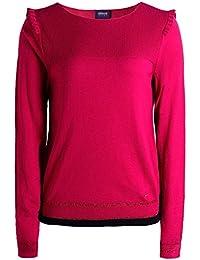 Armani Jeans Femmes lange Ärmel Rüsche Schulter t-shirt Rose