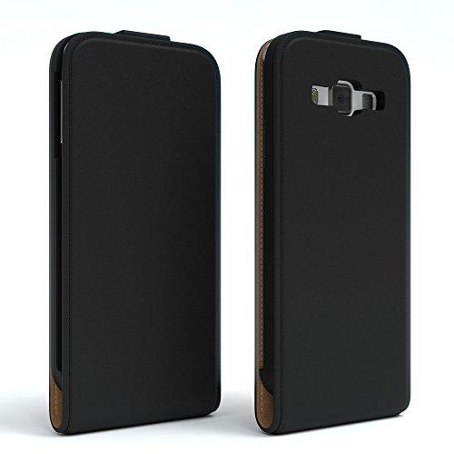 Samsung Galaxy A3 (altes Modell) Hülle - EAZY CASE Premium Flip Case Handyhülle - Schutzhülle aus Leder zum Aufklappen in Schwarz Schwarz
