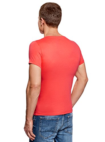 oodji Ultra Herren Bedrucktes T-Shirt Orange (5579P)