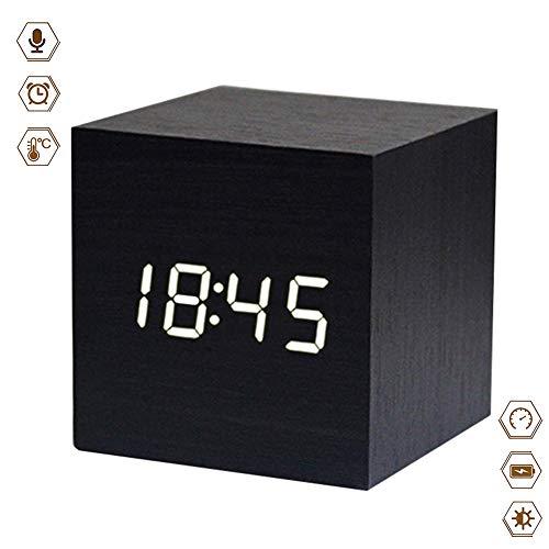 Najiny Mini Cubo Despertadores Digitales Madera Reloj Control de Sonido Luz LED,Muestra La Hora y Temperatura...